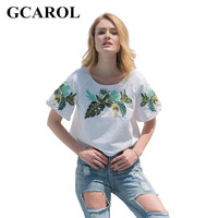 GCAROL 2017 Women Embroidery Leaf Cropped Tees Euro Style Oversize T Shirt Stretch Summer Basic