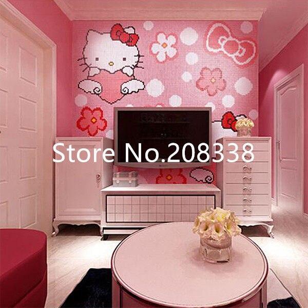 Online Shop Pinky Cute Hello Kitty Glass Mosaic Tile Art Wall Mural