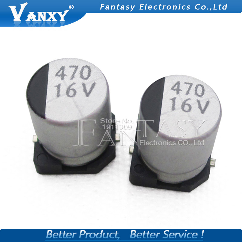 10PCS Electrolytic Capacitor 16v470uf 8*10mm SMD Aluminum Electrolytic Capacitor 470uf 16v