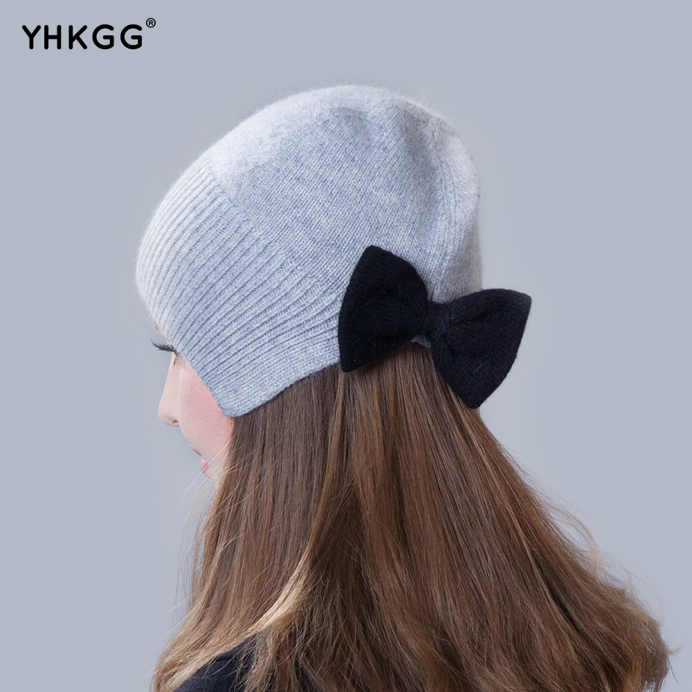 2017 brand new thin section thin section elegant ear cap with a bow Knitting beanies Pom Pom Hat the new children s cubs hat qiu dong with cartoon animals knitting wool cap and pile
