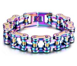 19mm Men's Rainbow color Bike Biker Chain Motorcycle Chain titanium steel Bracelet Bangle Boys 316L Stainless Steel Jewelry