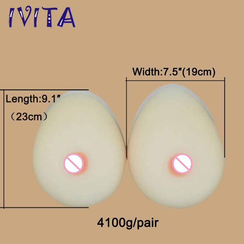 4100g/pair White Huge Artificial Breasts Realistic Silicone Breast Forms Silicone Fake Breast Size 174100g/pair White Huge Artificial Breasts Realistic Silicone Breast Forms Silicone Fake Breast Size 17