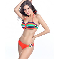 Latest Hot Beach Rainbow Sexy Neno Stripe Bandeau Swimsuit Women Halter Bikini Set Strappy Side Push