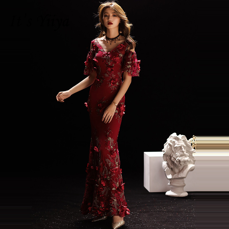It's YiiYa   Evening     Dress   2019 Floral Appliques Embroidery Beading V-neck Trumpet Wine Red   Evening   Gowns TR001 robe de soiree