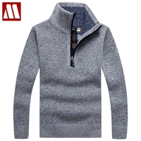 Warm Thick Velvet Cashmere Sweaters Men Winter Pullovers Zipper Mandarin Collar Man Casual Clothes Pattern Knitwear Big Size 3xl