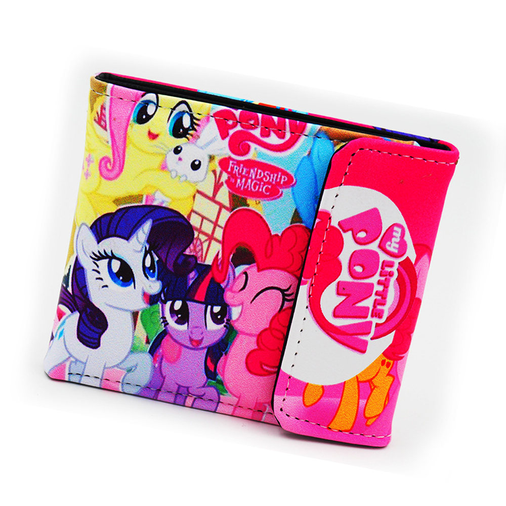 2018 New Cartoon Wallet Anime Cosplay My Little Pony Girls Boys Three Fold Wallets Women Purse Coin Bag card holder Carteira anime fate stay night coin wallet cosplay men women bifold purse