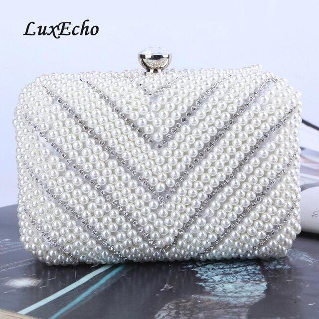 Mode ivoire perle sacs de soirée femmes perles strass jour embrayages à la main de luxe mariage/fête sacs perles sac à main chaîne