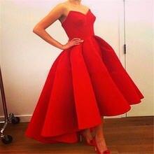 Женское атласное платье трапециевидной формы красное для вечеринки