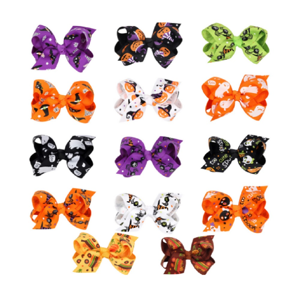 2pcs/lot  Halloween Cartoon Bowknot Hairpin Printing Butterfly Hair Jewelry Wholesale Festival For Children