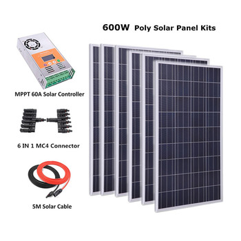 600W Off Grid Complete Solar Panel Systems with 6pcs 100w polycrystalline solar panel, 60A MPPT Solar charge controller