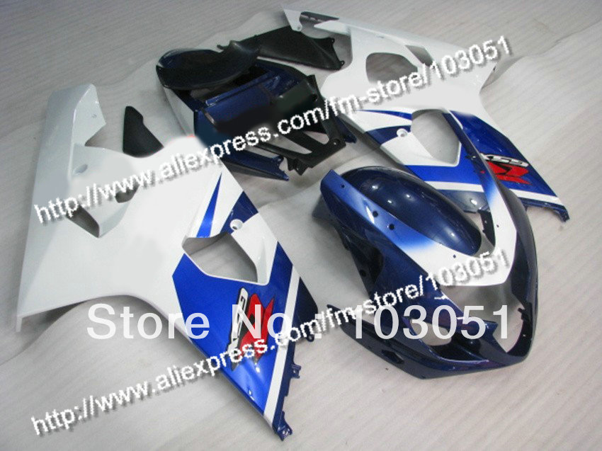 bodywork for SUZUKI 2004 GSXR 600 fairing K4 2005 GSXR 750 fairings 04 05 glossy white with dull blue DN54 lowest price fairing kit for suzuki gsxr 600 750 k4 2004 2005 blue black fairings set gsxr600 gsxr750 04 05 eg12