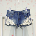 Free Shipping 2016 spring and summer new flowers pearl lace Spliced Hole Lady denim shorts Women Sexy Woman Short Jeans Z1946