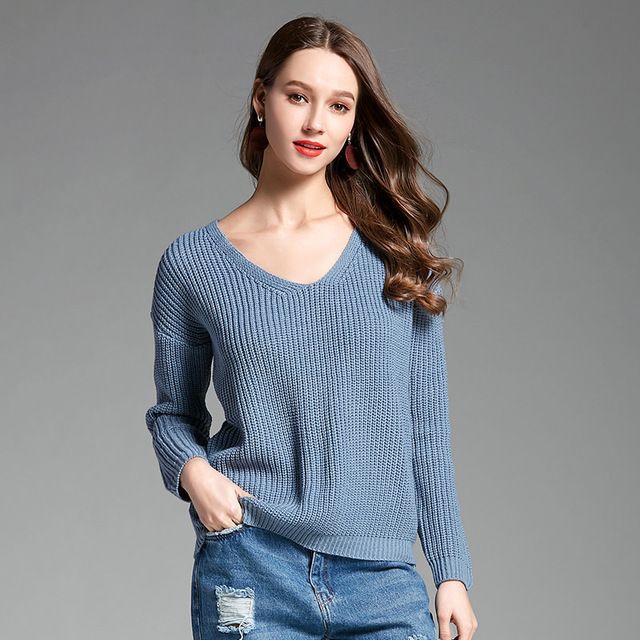 85541420caa Women V-neck Pullover Sweater Back Lace Up Solid Color Sexy Truien Dames  Sweater Long Sleeve Casual Knitted Mujer Tops MZ3017