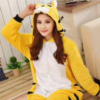 Wholesale Winter Animal Onesies Cartoon Unisex Adult Yellow Tiger Pajamas Sets Flannel Sleepwear Suit Winnie Onesie