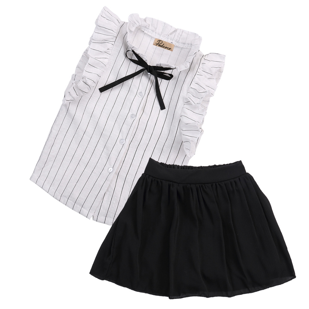 Toddler Infant Sweet Baby Girls Dress Kids Outfits T Shirt Tops Skirts Pants 2pcs Clothes Set 2-7Y