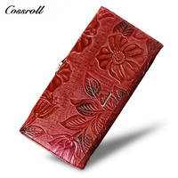Cossroll Brand 2017 Vintage Genuine Leather Purse New European Fashion Female Long Embossing Flower Hasp Wallet