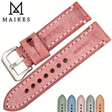 MAIKES Red 22mm 24mm Watchband With Stainless Steel Buckle Watch Accessories Watch Strap Vintage Leather Watch Band For Panerai hengrc rubber watchband 22mm universal silicone watch band strap with vintage stainless steel buckle red black brown orange