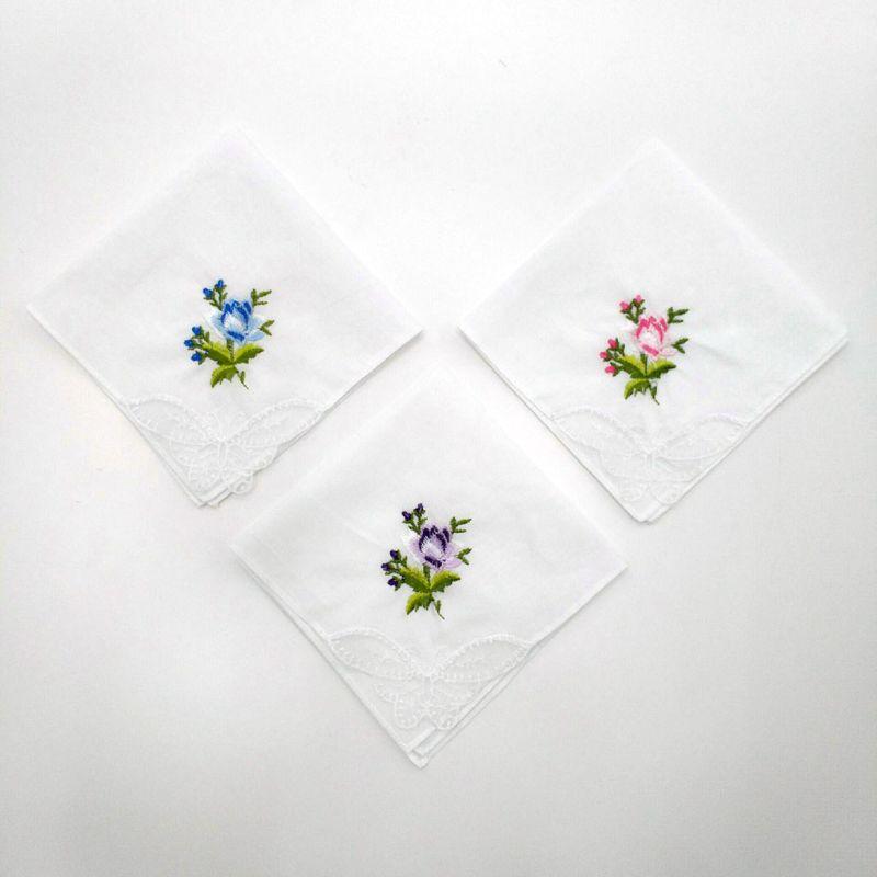 3 Teile/satz Frauen Grundlegende Weißes Quadrat Taschentuch Floral Gestickte Tasche Hanky Schmetterling Spitze Baumwolle Baby Lätzchen