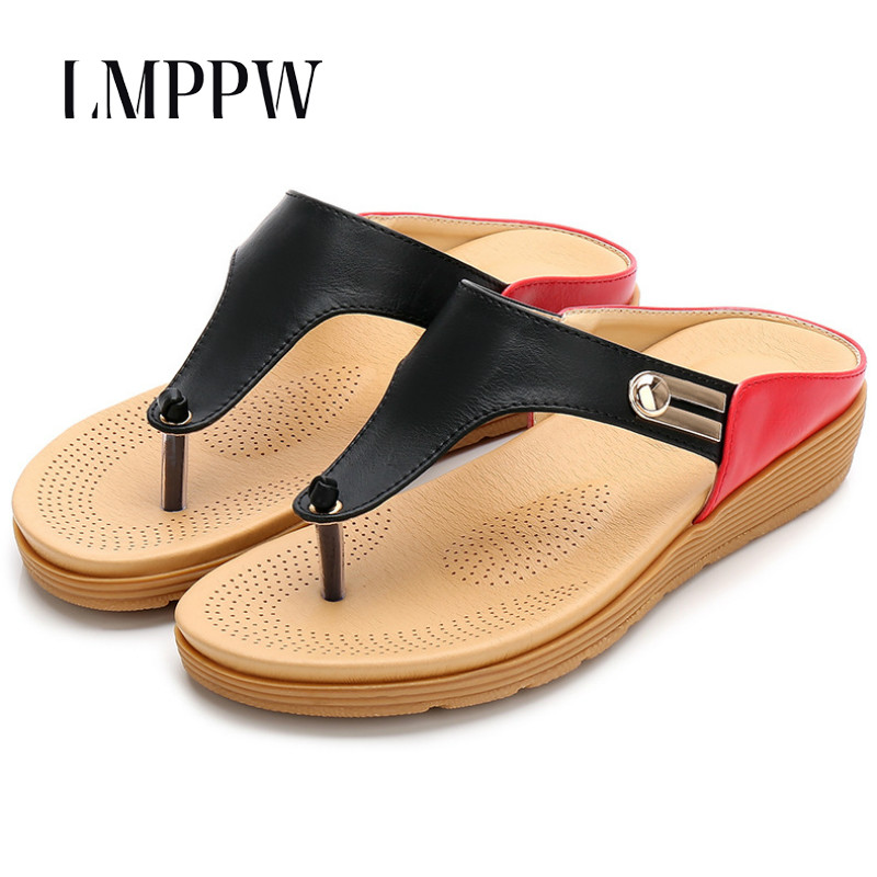 Women Beach Flat Shoes Summer Fashion Women 39 s Sandals Outside Thick soled Slippers Non slip Comfortable Flip Flops Big Size 41 in Flip Flops from Shoes