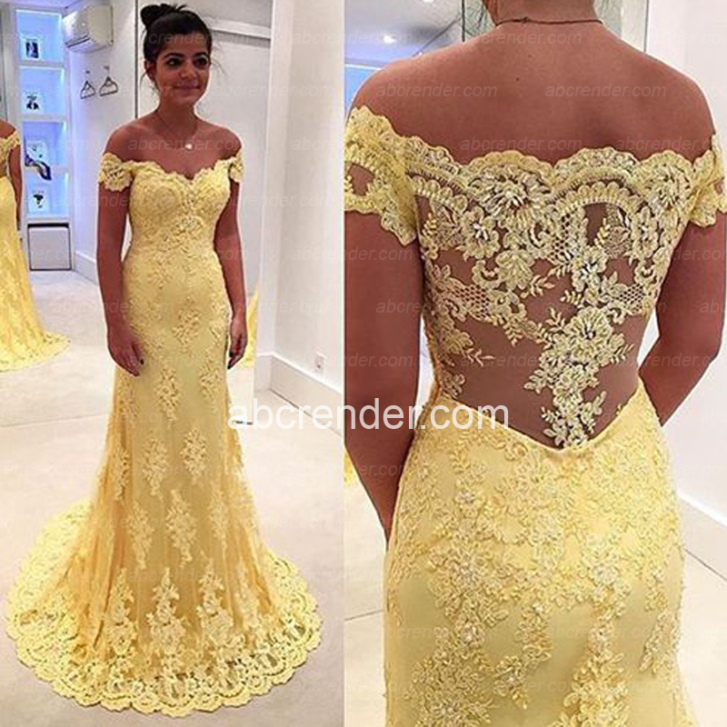 Yellow Full Lace Mermaid Prom Off Shoulder See Through Back Sweep Train Evening Gowns Formal Party Dress Arabic Vestidos