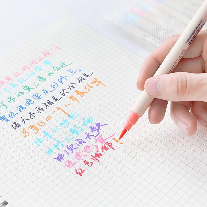 Купить с кэшбэком 10 pcs soft Color brush pen Calligraphy pens for writing signature marker Stationery School Art supplies Canetas escolar FB805