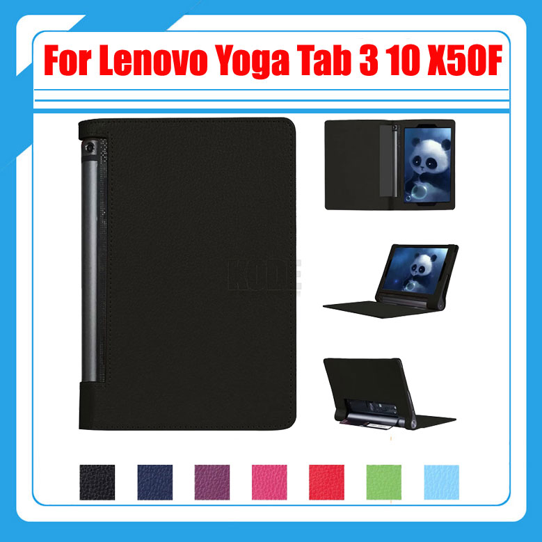 Pu Litchi Folio Stand PU Leather Cover Smart Case For Lenovo Yoga Tab 3 10 YT3-X50 X50F X50M X50L 10.1 inch + Screen Protectors slim fit stand feature folio flip pu hybrid print case for lenovo tab 3 730f 730m 730x 7 inch