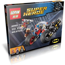 LEPIN 07032 Super Hero Minifigures Mighty Micros Deadshot Harley Queen Batman with motorcycle Blocks Toys compatible