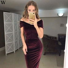 Women Off Shoulder Ruched Velvet Dress High Waist Bodycon Dress Sexy Club Party Dress Elegant Office Ladies Sheath Vestidos Dec1