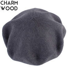 Knitted Beret Artist Wool Female French Women's New Autumn for Warm Soft Fur Hat Bonnet