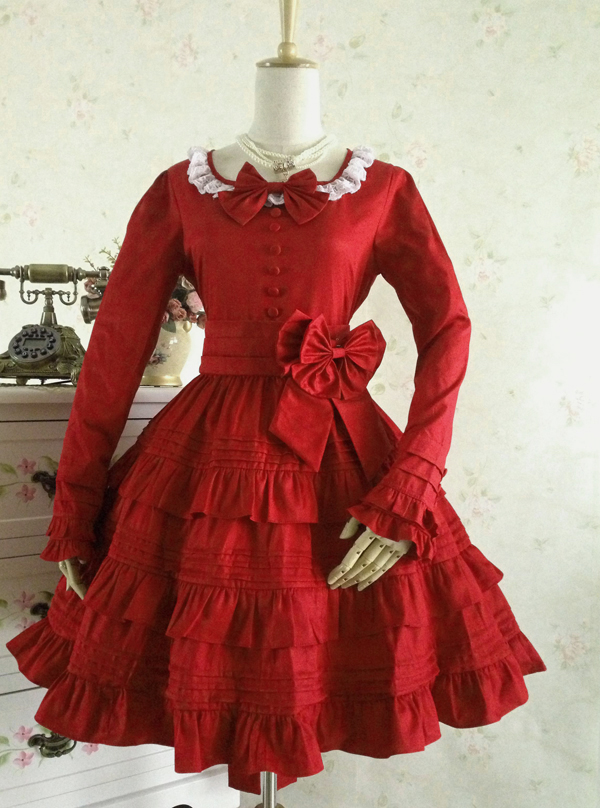 A9Autumn outfit gothic Lolita dress long sleeved dress lace cosplay dress bitter fleabane bitter fleabane restoring ancient ways