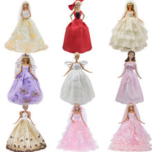 Handmade Wedding Dress Princess Evening Party Ball Long Gown Skirt Bridal Veil Clothes For Barbie Doll Accessories xMas Gift Toy(China)