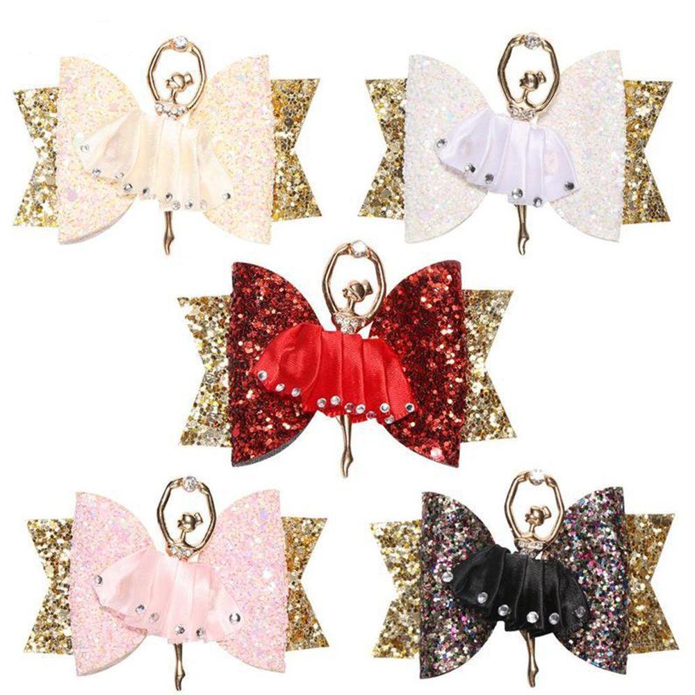 Ballerina Shape Glitter Bow Sparkly Headwear Hair Clip For Women Girls Hairpin Children Kids Barrettes Hair Accessories