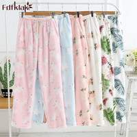 Fdfklak Lounge loose pajama pants women flannel thicken sleep pant print autumn winter home pant warm pijama pants trousers