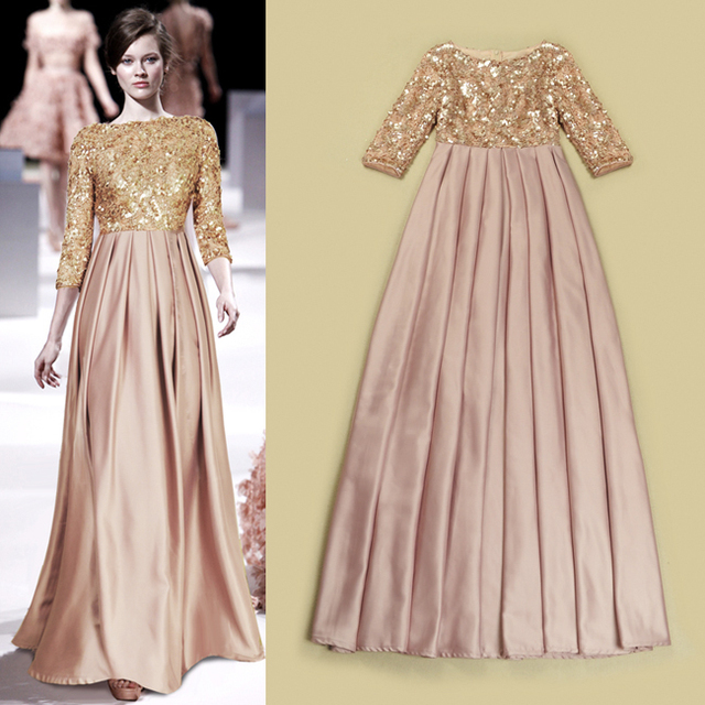 Hot Sale High Quality Silk Satin Women Formal Evening Party Dress With Sequin  Hollow Out Fashion Maxi Dress Vestidos Femininos f3413d1422b2