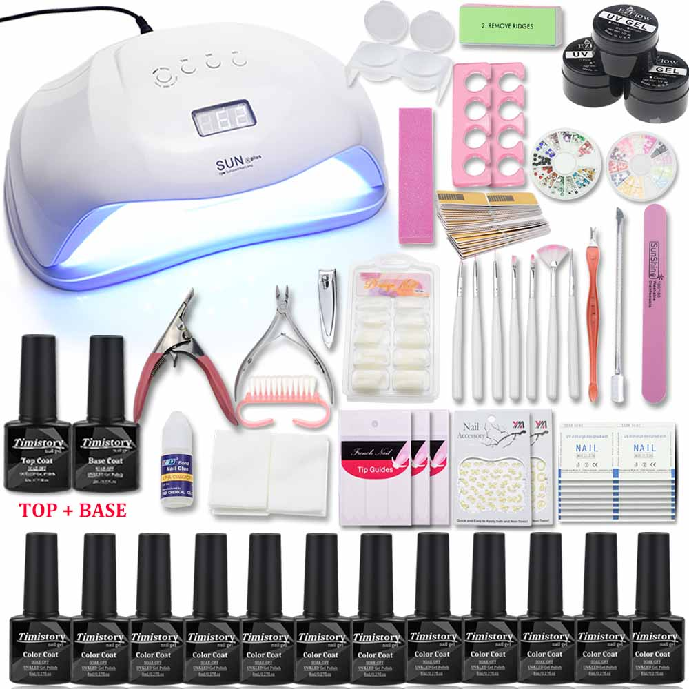 Nail Set with UV Lamp 48 54 72W Acrylic Liquid All For Manicure Pedicure Tools Kit