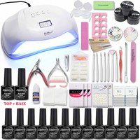 Nail Set with UV Lamp 48/54/72W Acrylic Liquid All For Manicure Pedicure Tools Kit 12 Color Nail Gel Nail Kit with Top&Base coat