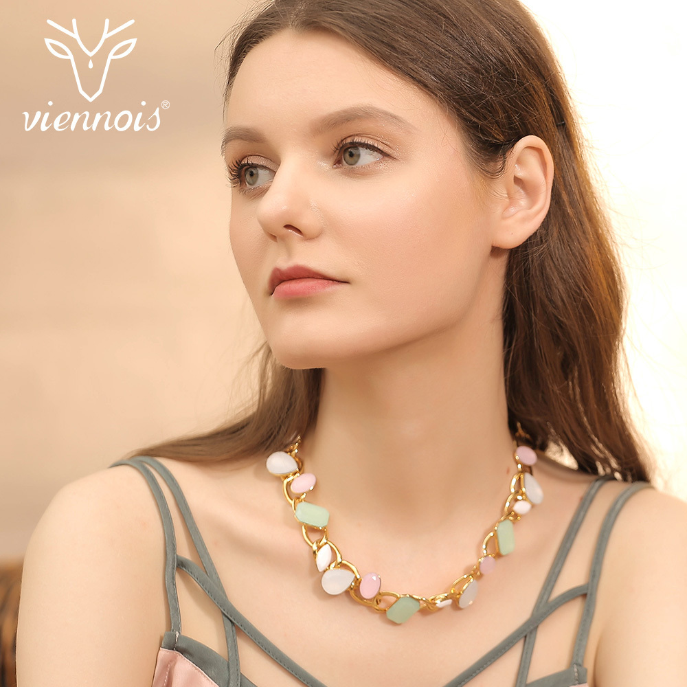 Viennois Fashion Candy Gold Color Necklace Multicolor Austrian Crystal For Women Geometric Jewelry Luxury Chain Necklace gorgeous rhinestone geometric bead chain tassel necklace for women