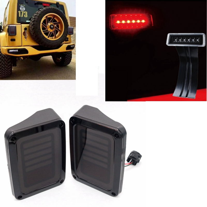 Led Taillight Combo Set For 07-16 Jeep Wrangler JK LED Rear Tail Light + Smoke Lens Third High Brake Light high quality new generation led car rear taillights tail lamps for jeep wrangler jk play and plug