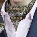 TE034 Paisley Floral 100% de Seda De Poliéster Fantasia Jacquard Laços Ascot Cravat Ascot FB Hot Mens Terno Do Partido Dos Homens laços