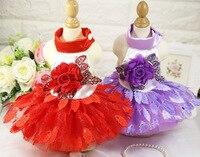 Good Quality Super Lovely Pet Upscale Wedding Dress Shiny Leaves Skirt Teddy Cat Dog Dress Cozy