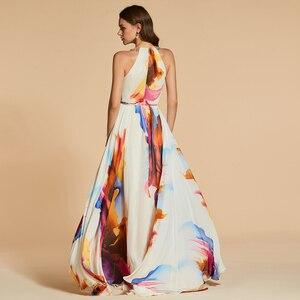 Image 3 - Dressv שמלת ערב סקופ צוואר קו אלגנטי ללא שרוולים באורך רצפת הדפסת מסיבת חתונה רשמי שמלת ערב שמלות