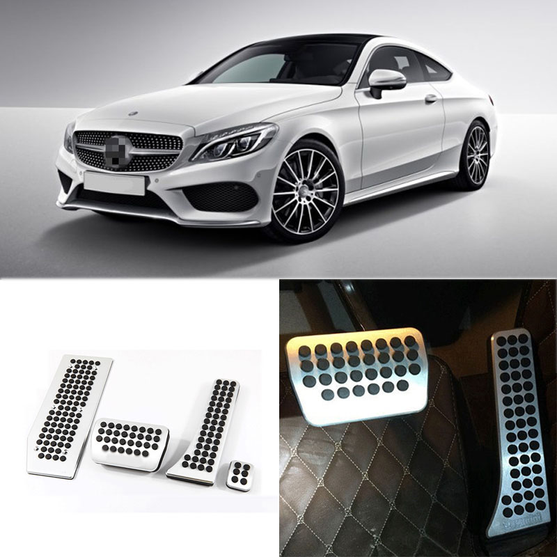 Brand New 4pcs Aluminium Non Slip Foot Rest Fuel Gas Brake Pedal Cover For Benz C-Class AT 2008-2016 brand new 2pcs aluminium non slip foot rest fuel gas brake pedal cover for hyundai sonata 8th at 2011 2015