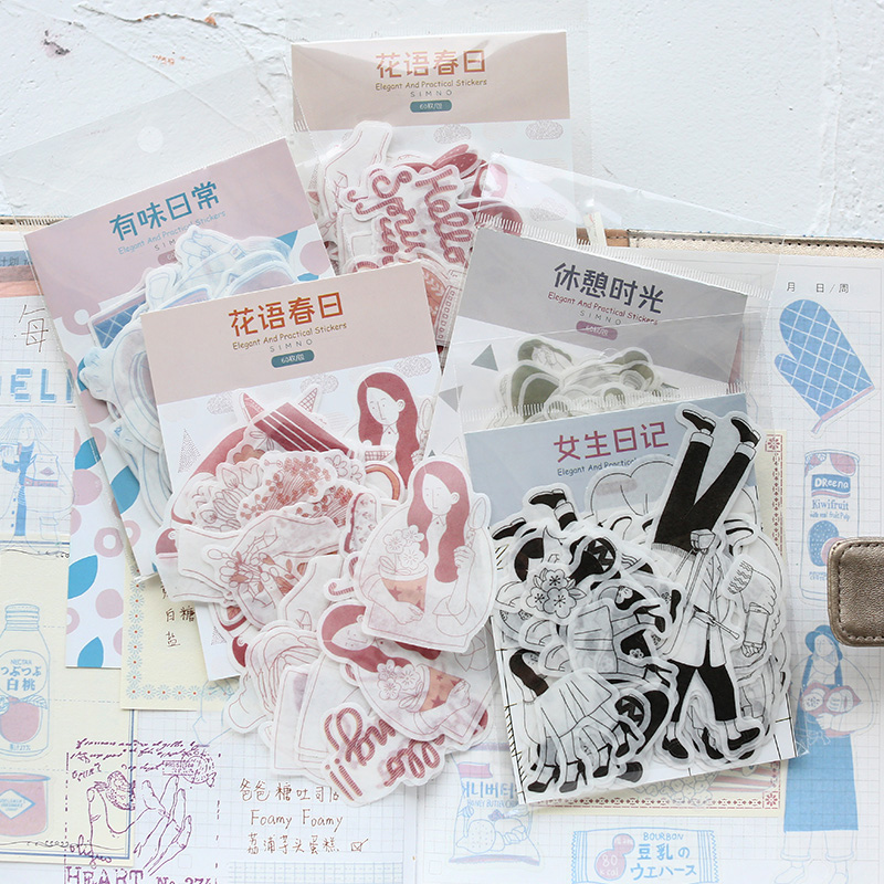 60 Pcs/Lot Daily Life Of A Girl Student Decoration Paper Sticker Decoration DIY Album Diary Scrapbooking Label Sticker