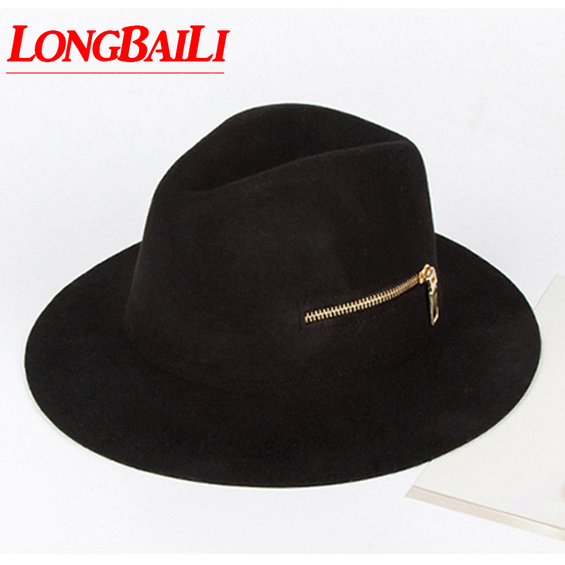 Winter Black Wool Felt Hats Women Zipper Wide Brim Sun Fedora Hats Chapeau Free Shipping BMDW021