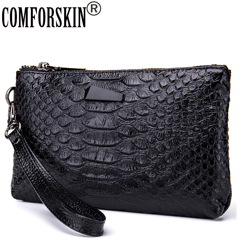 COMFORSKIN Brand Fashion Women Organizer Wallets Quality Split Leather Crocodile Pattern European American Female Clutch Purses