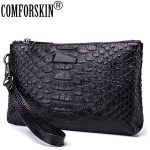 COMFORSKIN Brand Fashion Women Organizer Wallets Quality Split Leather Crocodile Pattern European American Female Clutch Purses(China)