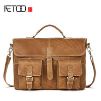 AETOO New men's bag promotion men's business handbag cross section men's briefcase leather Messenger bag