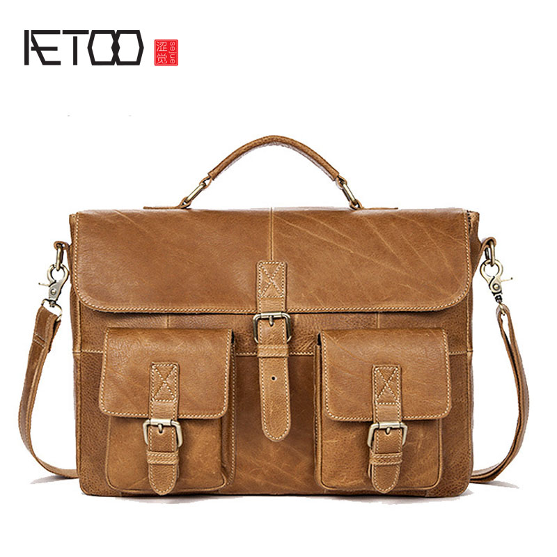 AETOO New men's bag promotion men's business handbag cross section men's briefcase leather Messenger bag waterproof business messenger bag cross section preppy style flap bag vertical section contracted joker men crossbody bag 0182