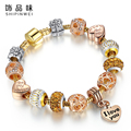 2016 New Fashion Crystal Beads Bracelets Bangles Gold Heart Pendant Charm Bracelets For Women Lover's Pulseiras Luxury Jewelry