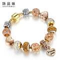 2016 Nueva Moda Crystal Beads Pulseras Brazaletes de Oro Colgante de Corazón Pulseras Del Encanto Para Las Mujeres Pulseiras Joyería De Lujo del Amante